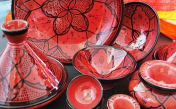 Marokkaans serviesgoed ontwerp keuken accessoires - Aardewerk rode keuken ...